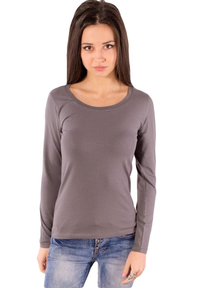 Лонгслив женский футболка однотонная с длинным рукавом трикотажная, серая