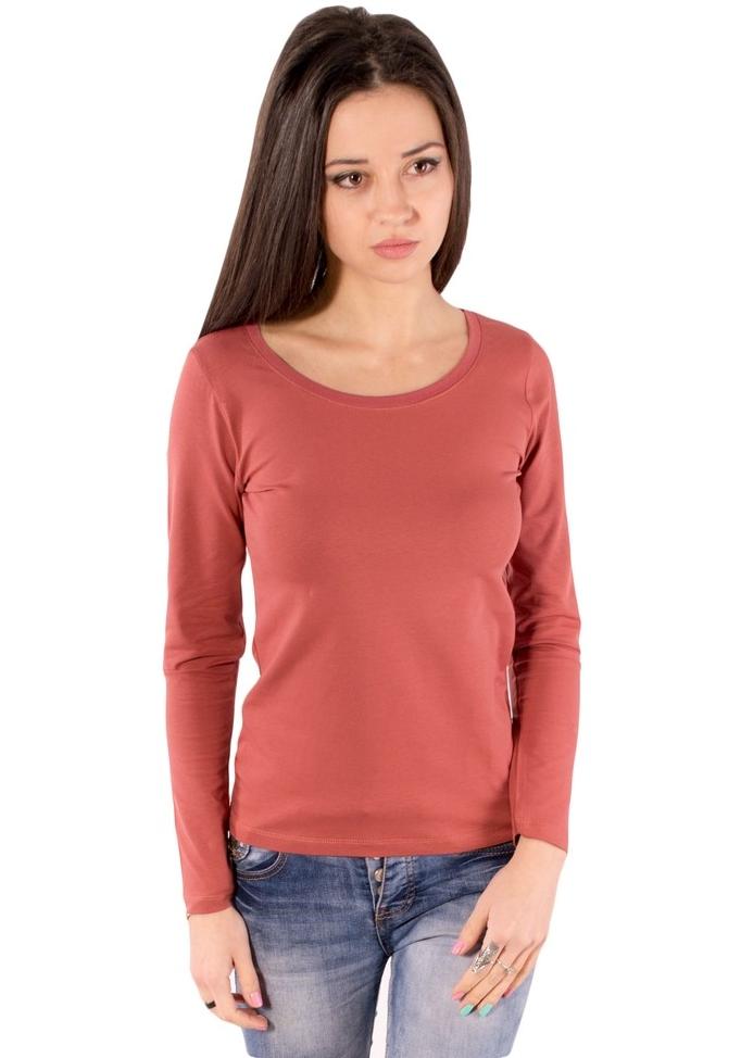 Базова футболка з довгим рукавом жіноча однотонна трикотажна, теракотова