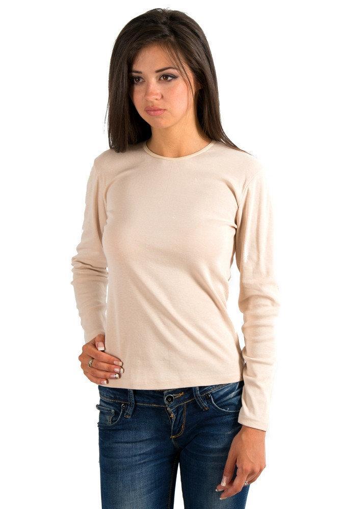 Базова водолазка з довгим рукавом жіноча однотонна трикотажна тканина, бежева