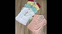 Блузка для девочки 5-8 лет розового, персикового, желтого, белого цвета оптом