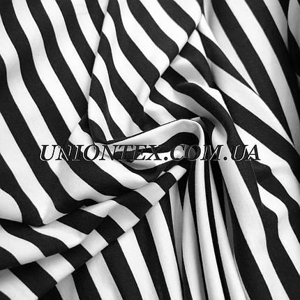 """Трикотаж вискоза принт полоска """"тельняшка"""" 1см черная с белой, фото 2"""