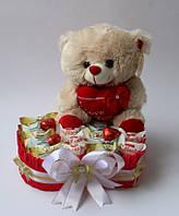 Сердце из конфет Raffaello, Любимов,Королевский Шарм и Мягкой игрушки Мишки.