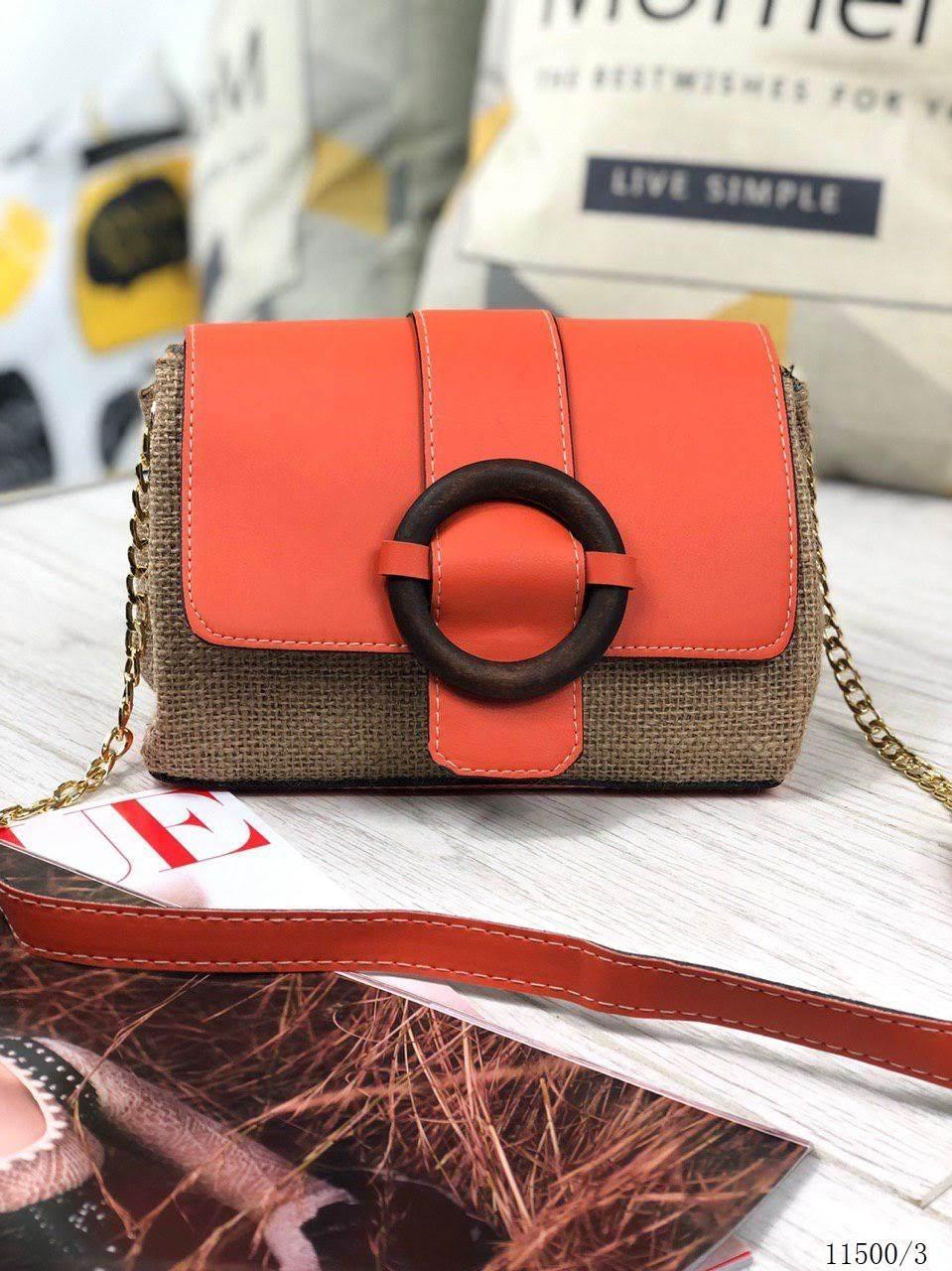 Сумка женская кросс-боди сумочка маленькая через плечо экокожа рогожка оранжевая