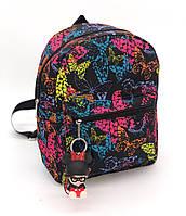 Детский рюкзак яркие принты черный бабочки