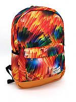 Женский рюкзак городской школьный яркий принт оранжевый с оранжевым дном