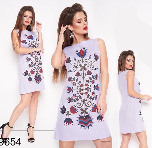 Женское летнее платье с узором без рукавов (фиалка) 829654