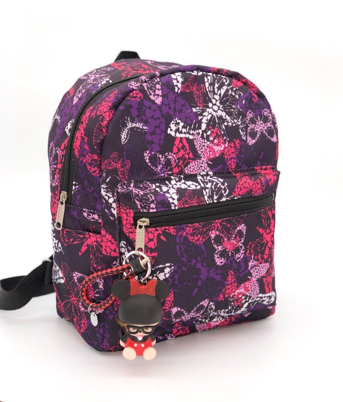 Рюкзак женский городской яркие принты фиолетовый бабочки