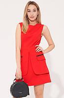 Красное мини-платье А-силуэта. Модель 21456. Размеры 42-48