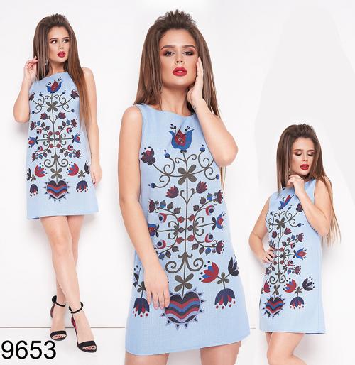 Модное женское летнее платье без рукавов (джинс) 829653