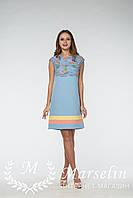 Женское платье прямое верх вязаное кружево L