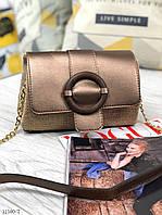 Женская сумочка через плечо сумочка сумка маленькая кросс-боди экокожа бронза, фото 1
