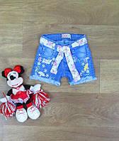 Турецкие детские джинсовые шорты для девочки с поясом