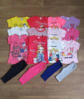 Летний костюм для девочки с рисунком турецкий,детская одежда из Турции,турецкий детский трикотаж,коттон
