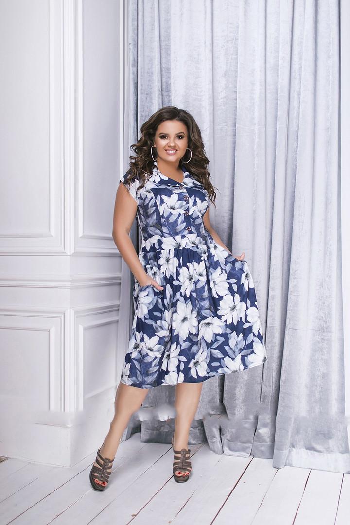 Платье женское длинное из коттона с цветочным принтом (К27638)