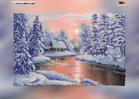 """Схема для вышивки бисером на подрамнике (холст) """"Зимний пейзаж"""""""