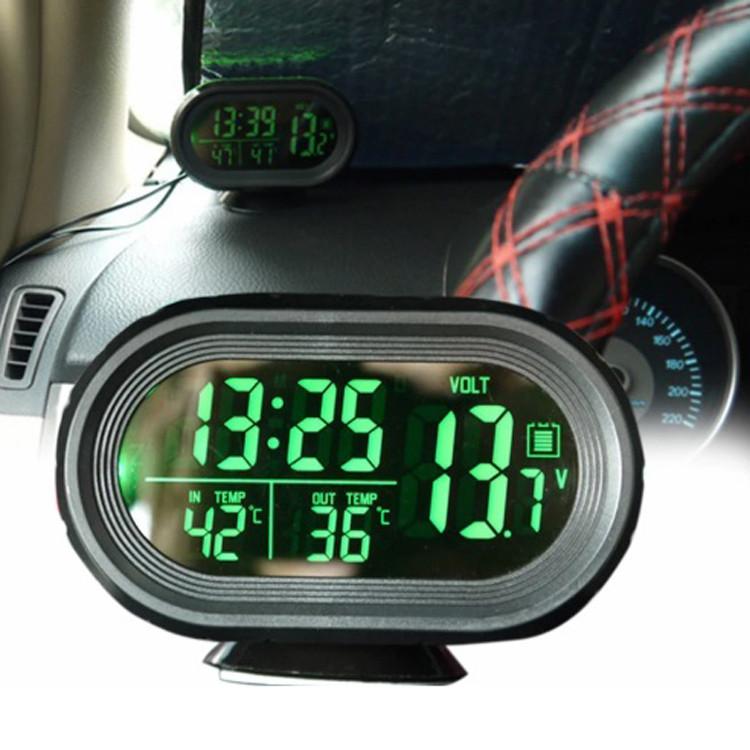 Автомобильные часы с термометром и вольтметром VST 7009V Авточасы