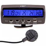 Универсальные Автомобильные часы с термометром и вольтметром VST 7045V Авточасы, фото 4