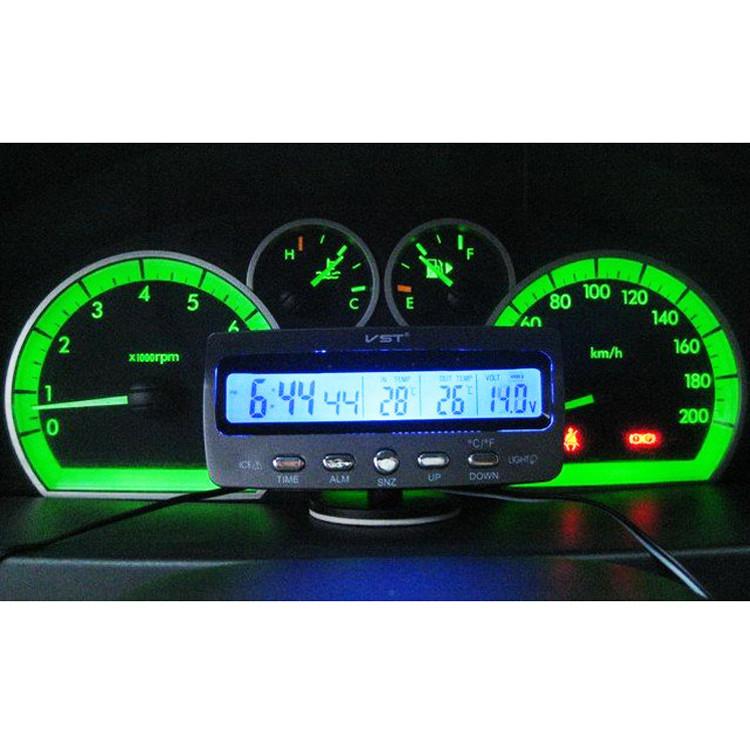 Универсальные Автомобильные часы с термометром и вольтметром VST 7045V Авточасы