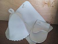 """Набор для сауны и бани шапка,коврик, рукавица """"Белый"""" V2"""