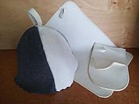 "Набор для сауны и бани шапка, коврик, рукавица ""Комбі""V2"