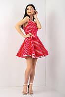 Подростковое, летнее,нежное, платье в горошек, размеры ХС,С,М (21193)красное