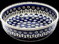Большая круглая керамическая форма 28 для выпечки и запекания Перо Павлина