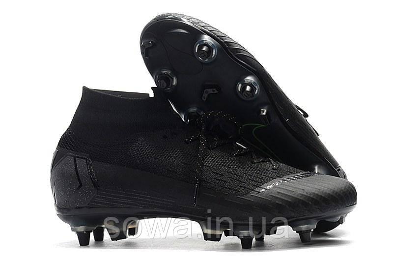 "✔️ Футбольные бутсы Nike Mercurial Superfly VI Elite SG AC ""Black"""