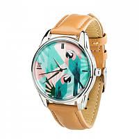 Часы Ziz Попугай, карамельно-коричневый, серебро и дополнительный ремешок - 142844