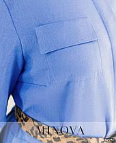 Платье рубашка лен голубая большой размер от 50 до 60, фото 3