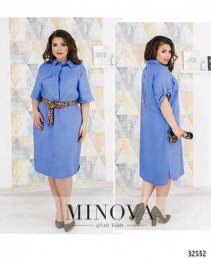 Платье рубашка лен голубая большой размер от 50 до 60, фото 2