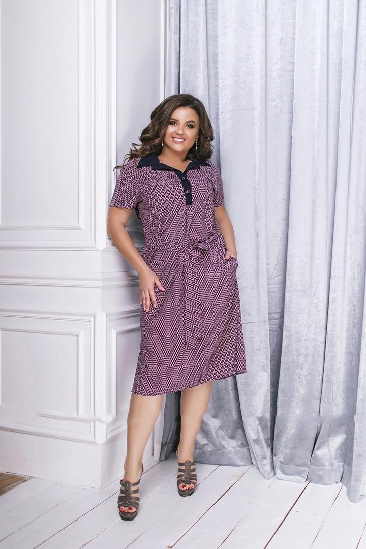 Платье женское длинное из коттона с отложным воротником и карманами (К27641)