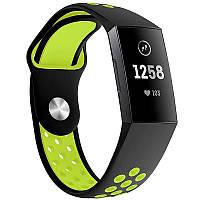 Силиконовый ремешок с перфорацией для фитнеса браслета Fitbit Charge 3 (FB409/FB410) - Black&Green