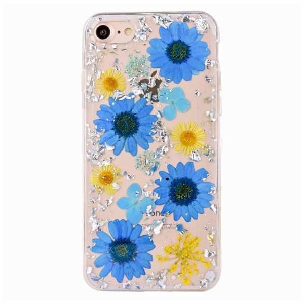 "TPU чехол ""Flowers and tinsel "" для Apple iPhone 7 / 8 (4.7"") Маргаритки синие"