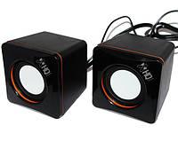 Колонки 2.0 HQ-Tech HQ-SP04U Black/Orange, 2 x 3 Вт, пластиковый корпус, питание от USB, управление сзади