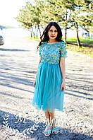 Женское нарядное платье 3D цветами с камнями