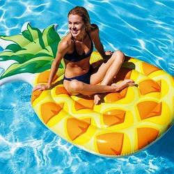 """Надувной матрас """"Ананас"""" INTEX 216х124см (Интекс), от 12 лет (до 120 кг) надувной пляжный плот для плавания"""