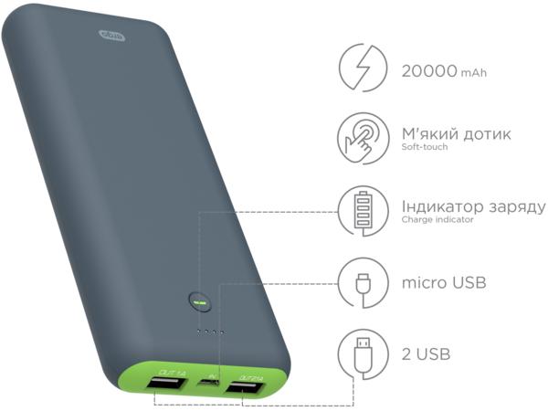 Портативная батарея ERGO LI-S90, 20000 mAh Li-ion Rubber Grey