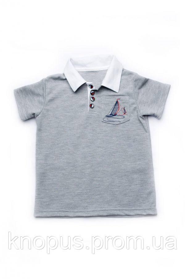 Футболка-поло для мальчика (серая),  размеры 92-128, Модный карапуз