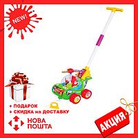 Каталка для ребенка на палочке зеленый Вертолет 0867 | детская игрушка | крутится пропеллер и каруселька