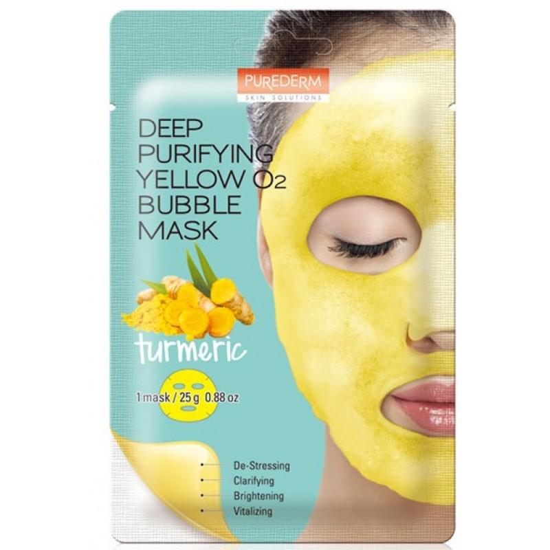 Пузырьковая маска с экстрактом куркумы Purederm Deep Purifying Yellow O2 Bubble Mask Turmeric