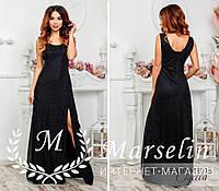 Элегантное женское платье в пол люрекс