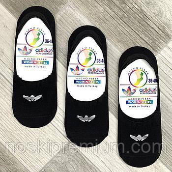 Подследники женские микрофибра Adidas, Турция, 36-40 размер, чёрные, 02818