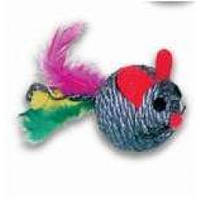 Мячик-драпак мордочка мышки с пером (погремушка) 6,5 см