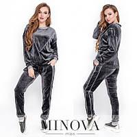 Женский велюровый спортивный костюм №4071.26 (р.44-48) серый, фото 1