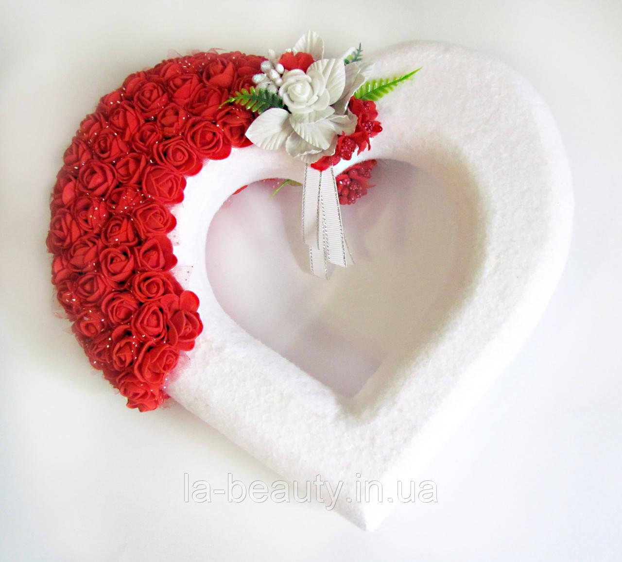 Декор белое сердце с розами для свадебных машин / авто украшение