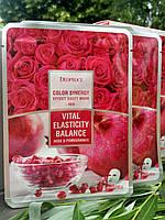 Тканевая маска для эластичности и тонуса кожи с экстрактами граната и лепестков роз Deoproce Color Synergy