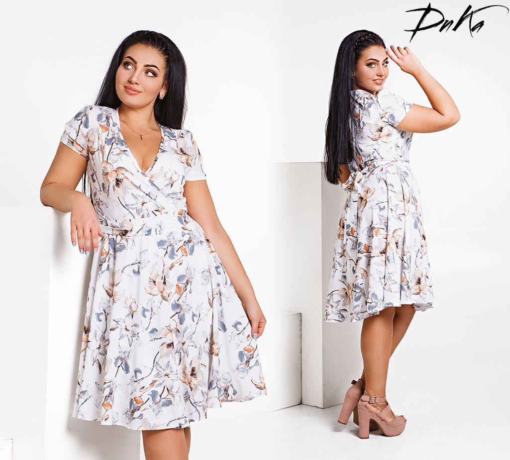 279a419efd0dbf7 Платье на запах с цветочным принтом, размер 50-56 - Интернет-магазин одежды