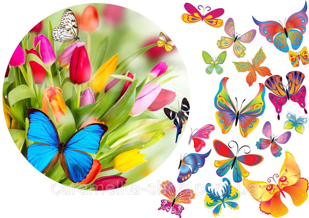 Цукрова картинка квіти і метелики, для торта