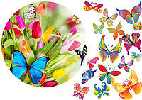 Сахарная картинка цветы и бабочки, для торта