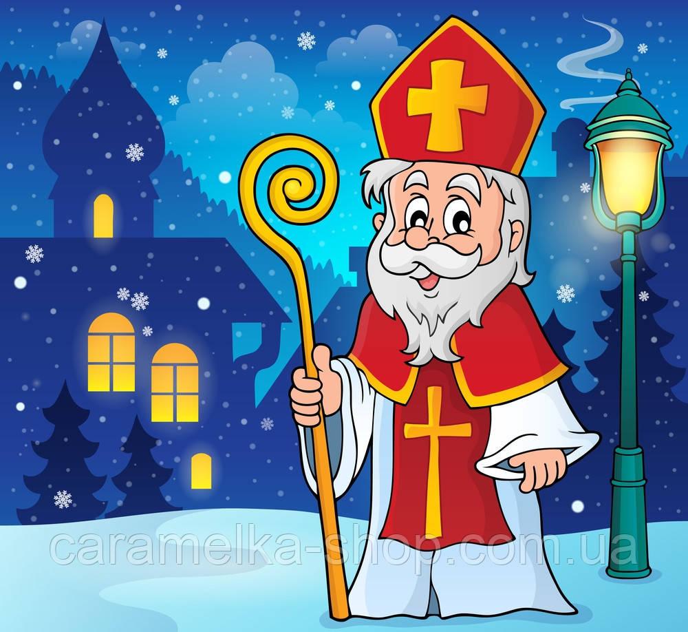 Вафельная картинка  Святой Николай новогодняя,  для торта